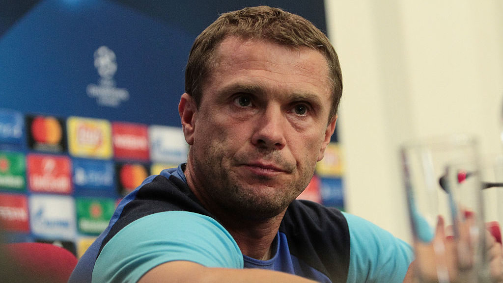 FC Dynamo Kyiv head coach Serhiy Rebrov gave pre-match press conference in Kyiv, on September 12, 2016. FC Dynamo Kiev play with Napoli in a Champions League, Group B soccer match on Tuesday, Sept. 13. (Photo by Sergii Kharchenko/NurPhoto via Getty Images)