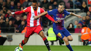 Jordi Alba and Ramalho during the match between FC Barcelona and Girona FC, for the round 25 of the Liga Santander, played at the Camp Nou Stadium on 25th February 2018 in Barcelona, Spain.    -- (Photo by Urbanandsport/NurPhoto via Getty Images)