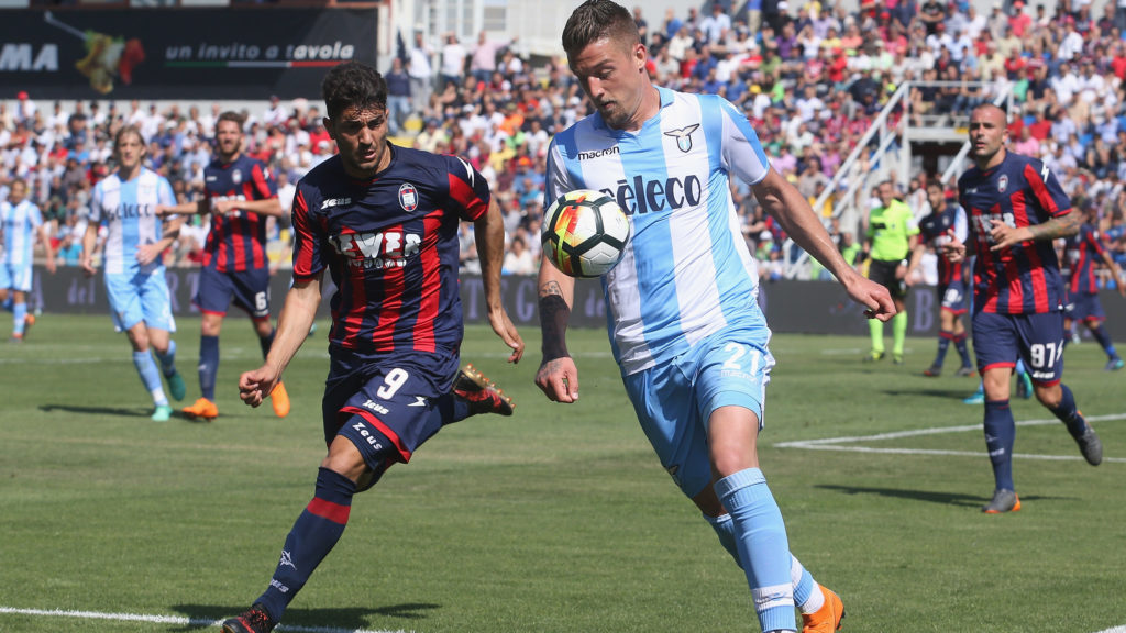 CROTONE, ITALY - MAY 13:  Andrea Nalini of Crotone competes for the ball with Sergej Milinkovic Savic of Lazio during the serie A match between FC Crotone and SS Lazio at Stadio Comunale Ezio Scida on May 13, 2018 in Crotone, Italy.  (Photo by Maurizio Lagana/Getty Images)