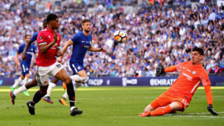 LONDON, ENGLAND - MAY 19:  Marcus Rashford of Manchester United takes a shot towards Thibaut Courtois of Chelsea during the Emirates FA Cup Final between Chelsea and Manchester United at Wembley Stadium on May 19, 2018 in London, England.  (Photo by Chris Brunskill Ltd/Getty Images)