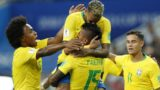 (l-r) Willian of Brazil, Neymar of Brazil, Paulinho of Brazil, Philippe Coutinho of Brazil during the 2018 FIFA World Cup Russia group E match between Serbia and Brazil at the Otkrytiye Arena on June 27, 2018 in Moscow, Russia(Photo by VI Images via Getty Images)