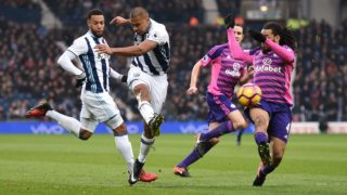 Jose Salomon Rondon of West Bromwich Albion has a shot during the English championship Premier League football match between West Bromwich Albion and Sunderland AFC on January 21, 2017 played at The Hawthorns in West Bromwich, Great Britain - Photo Ryan Browne / Backpage Images / DPPI