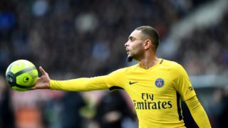 Paris Saint-Germain's French defender Layvin Kurzawa holds a ball during the French L1 football match between Troyes and Paris Saint-Germain at the Aube Stadium in Troyes on March 3, 2018.   / AFP PHOTO / FRANCK FIFE