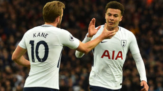 Tottenham Hotspur's English midfielder Dele Alli (R) celebrates scoring the opening goal with Tottenham Hotspur's English striker Harry Kane during the English Premier League football match between Tottenham Hotspur and Watford at Wembley Stadium in London, on April 30, 2018. / AFP PHOTO / Glyn KIRK / RESTRICTED TO EDITORIAL USE. No use with unauthorized audio, video, data, fixture lists, club/league logos or 'live' services. Online in-match use limited to 75 images, no video emulation. No use in betting, games or single club/league/player publications.  /
