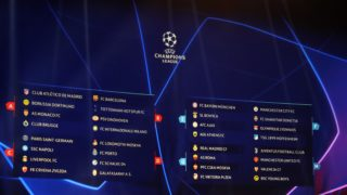 A board display the result of the draw for UEFA Champions League football tournament at The Grimaldi Forum in Monaco on August 30, 2018. / AFP PHOTO / Valery HACHE