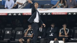 Real Madrid's Spanish coach Julen Lopetegui reacts during the Spanish league football match between Real Madrid CF and Club Deportivo Leganes SAD at the Santiago Bernabeu stadium in Madrid on September 1, 2018. / AFP PHOTO / GABRIEL BOUYS