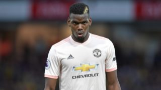 Manchester United's French midfielder Paul Pogba looks on during the English Premier League football match between Watford and Manchester United at Vicarage Road Stadium in Watford, north of London on September 15, 2018. / AFP PHOTO / OLLY GREENWOOD / RESTRICTED TO EDITORIAL USE. No use with unauthorized audio, video, data, fixture lists, club/league logos or 'live' services. Online in-match use limited to 120 images. An additional 40 images may be used in extra time. No video emulation. Social media in-match use limited to 120 images. An additional 40 images may be used in extra time. No use in betting publications, games or single club/league/player publications. /