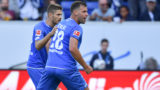 01.09.2018, Baden-Wurttemberg, Sinsheim, Football: Bundesliga, 1899 Hoffenheim - SC Freiburg, 2nd matchday, in the Rhein-Neckar-Arena. Hoffenheim goalkeeper Adam Szalai (r) celebrates with Hoffenheim's Andrej Kramaric over the goal to 1: 1. Photo: Uwe Anspach / dpa - IMPORTANT NOTE: In accordance with the requirements of the DFL German Football League it is forbidden to exploit or exploit in the stadium and / or made by the game photos in the form of sequence images and / or video-like photo galleries. | usage worldwide