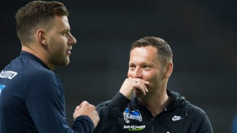 Hertha coach Pal Dardai speaks with Hoffenheim's Adam Szalai before the kickoff of a German Bundesliga soccer match between Hertha BSC vs. 1899 Hoffenheim in the Olymipa Stadium in Berlin, Germany, 31 March 2017.   (EMBARGO CONDITIONS - ATTENTION: Due to the accreditation guidlines, the DFL only permits the publication and utilisation of up to 15 pictures per match on the internet and in online media during the match.) Photo: Soeren Stache/dpa
