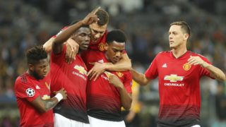 Paul Pogba (Manchester United) celebrates a goal with teammates during the UEFA Champions League, Group H football match between Young Boys Berne and Manchester United on September 19, 2018 at Stade de Suisse in Berne, Switzerland - Photo Laurent Lairys / DPPI