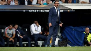 MADRID, SPAIN - SEPTEMBER 19: Head Coach Eusebio Di Francesco (front) of AS Roma reacts during UEFA Champions League Group G soccer match between Real Madrid and AS Roma at Santiago Bernabeu Stadium in Madrid, Spain on September 19, 2018. Burak Akbulut / Anadolu Agency
