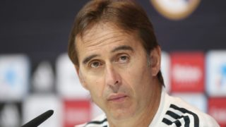 Real Madrid's Spanish coach Julen Lopetegui reacts during press conference before Atletico Madrid match in Madrdi, Spain, on 28 September.  (Photo by Raddad Jebarah/NurPhoto)