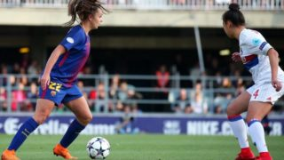 Lieke Martens and Selma Bacha during the match between FC Barcelona and Olympique de Lyon, for the secong leg of the 1/4 final of the Womens UEFA Champions League, played in Barcelona, on 28th March 2018 in Barcelona, Spain.  Photo: Joan Valls/Urbanandsport /NurPhoto  -- (Photo by Urbanandsport/NurPhoto)