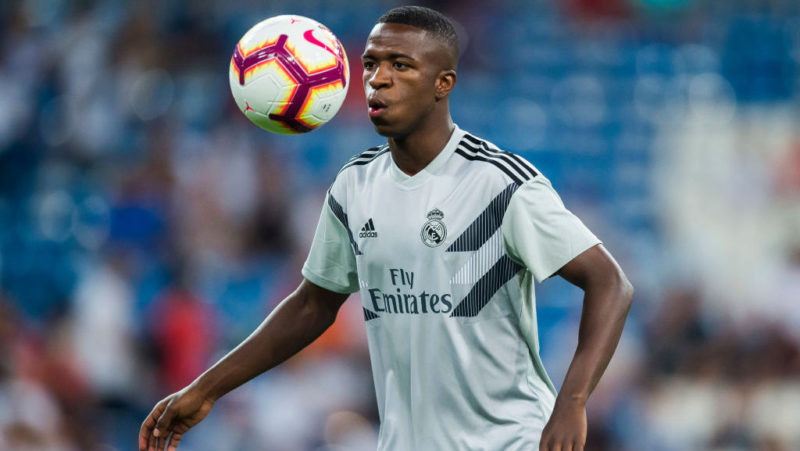 MADRID, SPAIN: AUGUST 19: Vinicius Junior of Real Madrid warms up prior to the La Liga match between Real Madrid CF and Getafe CF at Estadio Santiago Bernabeu on August 19 2018 in Madrid, Spain. (Photo by Diego Souto/Power Sport Images/Getty Images)