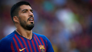 BARCELONA, SPAIN - SEPTEMBER 02:  Luis Suarez of Barcelona in action during the La Liga match between FC Barcelona and SD Huesca at Camp Nou on September 2, 2018 in Barcelona, Spain.  (Photo by Quality Sport Images/Getty Images)