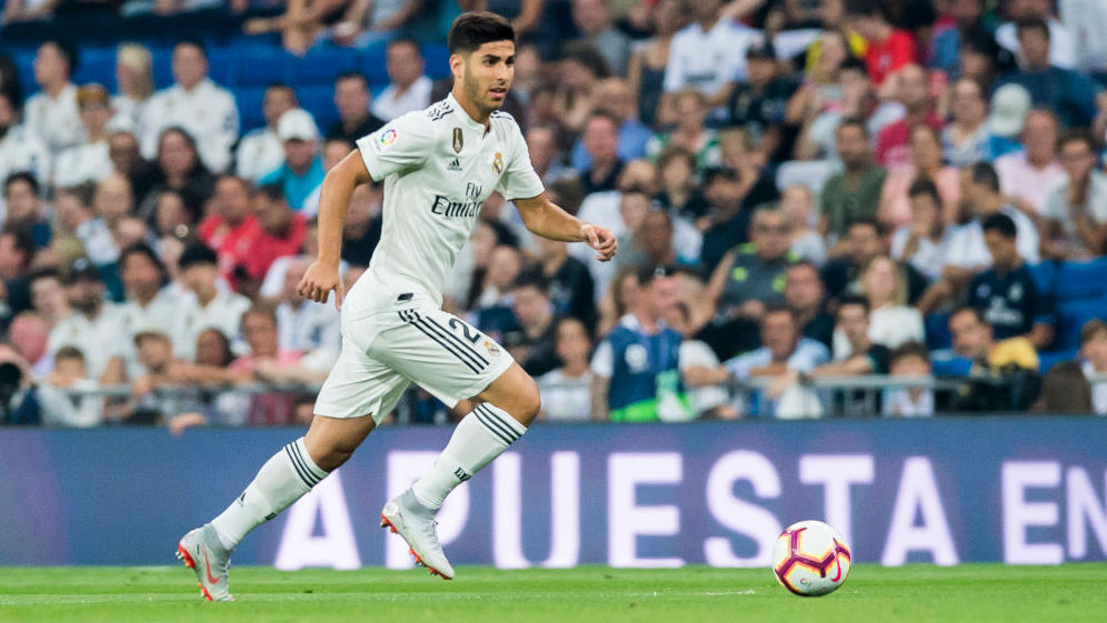 MADRID, SPAIN - SEPTEMBER 01: Marco Asensio Willemsen of Real Madrid in action during the La Liga match between Real Madrid CF and CD Leganes at Estadio Santiago Bernabeu on September 1, 2018 in Madrid, Spain. (Photo by Power Sport Images/Getty Images)