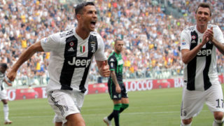 Cristiano Ronaldo #7 of Juventus FC celebrates after scoring the his goal during the serie A match between Juventus FC and US Sassuolo at Allianz Stadium on September 16, 2018 in Turin, Italy.(Photo by Giuseppe Cottini/NurPhoto via Getty Images)