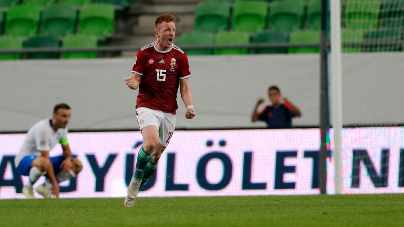 BUDAPEST, HUNGARY - SEPTEMBER 11: Laszlo Kleinheisler of Hungary celebrates his goal during the UEFA Nations League group stage match between Hungary and Greece at Groupama Arena on September 11, 2018 in Budapest, Hungary. (Photo by Laszlo Szirtesi/Getty Images)