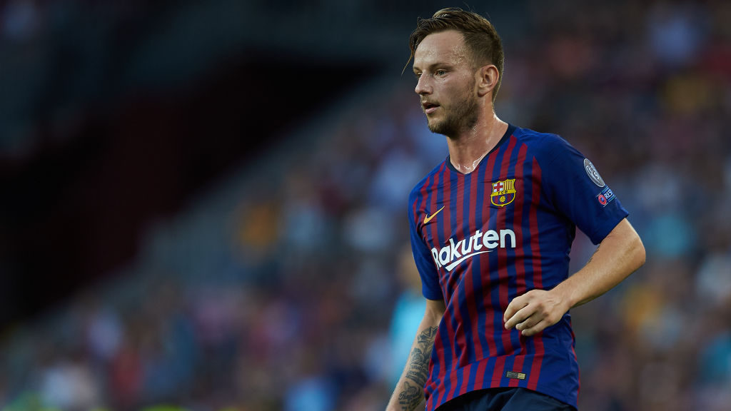 Ivan Rakitic of FC Barcelona looks on during the UEFA Champions League group B match between FC Barcelona and PSV Eindhoven at Camp Nou on September 18, 2018 in Barcelona, Spain (Photo by Sergio Lopez/NurPhoto via Getty Images)