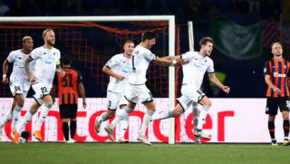 DONETSK, UKRAINE - SEPTEMBER 19:  Havard Nordtveit of 1899 Hoffenheim celebrates after scoring his team's second goal with his team mates during the Group F match of the UEFA Champions League between FC Shakhtar Donetsk and TSG 1899 Hoffenheim at Donbass Arena on September 19, 2018 in Donetsk, Ukraine.  (Photo by Joosep Martinson/Getty Images)
