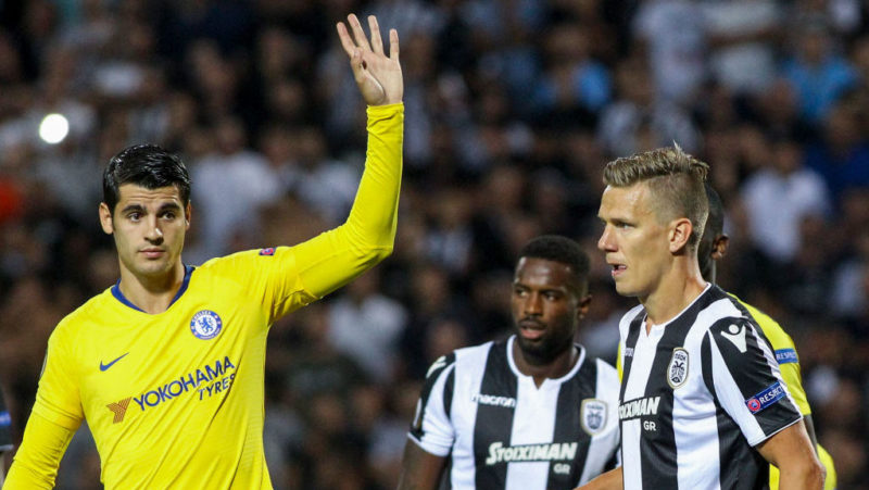 THESSALONIKI, GREECE - SEPTEMBER 20: Álvaro Morata of Chelsea during the UEFA Europa League Group L match between PAOK and Chelsea at Toumba Stadium on September 20, 2018 in Thessaloniki, Greece. (Photo by MB Media/Getty Images)