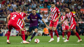 Sergio Busquets of FC Barcelona during the La Liga game between FC Barcelona against Girona in Camp Nou Stadium at Barcelona, on 23 of September of 2018, Spain. (Photo by Xavier Bonilla/NurPhoto via Getty Images)