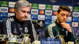 DORTMUND, GERMANY - APRIL 23:  Head coach Jose Mourinho looks on next to Mesut Oezil during a Real Madrid press conference ahead of their UEFA Champions League Semi Final first leg match against Borussia Dortmund on April 23, 2013 in Dortmund, Germany.  (Photo by Lars Baron/Bongarts/Getty Images)