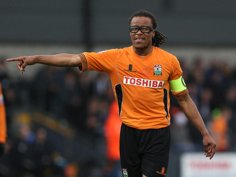 LONDON, ENGLAND - OCTOBER 13: Barnet player manager Edgar Davids directs his team on the pitch during the Skrill Conference Premier match between Barnet and Wrexham AFC at The Hive Stadium on October 13, 2013 in London, England. (Photo by Charlie Crowhurst/Getty Images)