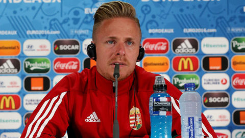 BORDEAUX, FRANCE - JUNE 13: Hungarian's player Balazs Dzsudzsak talks during the press conference at the matmut Stadium. In this handout image provided by UEFA on June 13, 2016 in Bordeaux, France. (Photo by Handout/UEFA via Getty Images)