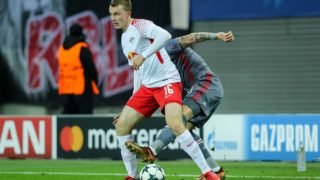 LEIPZIG, GERMANY - DECEMBER 06: Lukas Klostermann of Leipzig and Álvaro Negredo of Besiktas battle for the ball during the UEFA Champions League group G soccer match between RB Leipzig and Besiktas at the Leipzig Arena in Leipzig, Germany on December 06, 2017. (Photo by TF-Images/TF-Images via Getty Images)