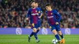 FC Barcelona midfielder Philippe Coutinho (14) and FC Barcelona forward Lionel Messi (10) during the match between FC Barcelona vs Girona, for the round 25 of the Liga Santander, played at Camp Nou Stadium on 24th February 2018 in Barcelona, Spain. -- (Photo by Urbanandsport/NurPhoto via Getty Images)