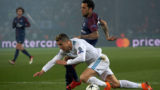 PARIS, FRANCE - MARCH 06:  Cristiano Ronaldo of Real Madrid is challenged by Dani Alves of Paris Saint-Germain during the UEFA Champions League Round of 16 Second Leg match between Paris Saint-Germain and Real Madrid at Parc des Princes on March 6, 2018 in Paris, France.  (Photo by Manuel Queimadelos Alonso/Getty Images)