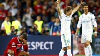(L-R) Giorginio Wijnaldum of Liverpool FC, Luca Modric of Real Madrid CF,Cristiano Ronaldo of Real Madrid CF during the UEFA Champions League final between Real Madrid and Liverpool on May 26, 2018 at NSC Olimpiyskiy Stadium in Kyiv, Ukraine(Photo by VI Images via Getty Images)