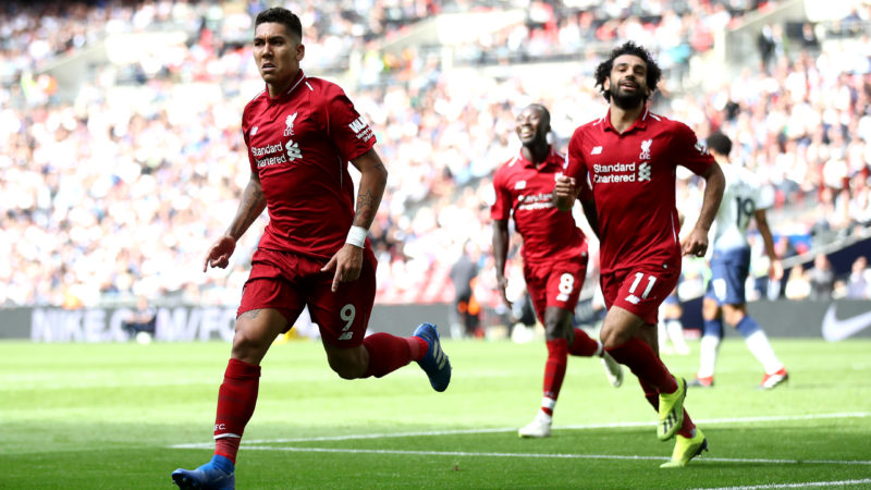 LONDON, ENGLAND - SEPTEMBER 15:  Roberto Firmino of Liverpool celebrates after scoring his team's second goal during the Premier League match between Tottenham Hotspur and Liverpool FC at Wembley Stadium on September 15, 2018 in London, United Kingdom.  (Photo by Julian Finney/Getty Images)