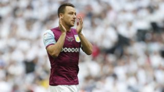 Aston Villa's English defender John Terry applauds their supporters ahead of kick off in the English Championship play-off final football match between Aston Villa and Fulham at Wembley Stadium in London on May 26, 2018. / AFP PHOTO / Ian KINGTON / NOT FOR MARKETING OR ADVERTISING USE / RESTRICTED TO EDITORIAL USE