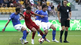 Italy's Gianmaria Zanandrea (L) and Sandro Tonali (2nd R) vie for the ball with Portugal's Joao Filipe (2nd L) during the 2018 UEFA European Under 19 Championship FIFA final football match between Italy vs Portugal in Seinajoki, Finland, on July 29, 2018. (Photo by Timo Aalto / Lehtikuva / AFP) / Finland OUT