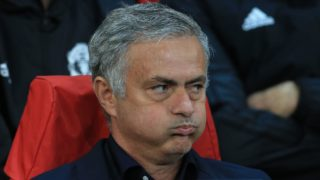 Manchester United's Portuguese manager Jose Mourinho reacts ahead of the Champions League group H football match between Manchester United and Valencia at Old Trafford in Manchester, north west England, on October 2, 2018. / AFP PHOTO / Lindsey PARNABY