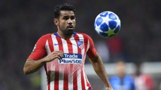 Atletico Madrid's Spanish forward Diego Costa eyes the ball during the UEFA Champions League group A football match between Club Atletico de Madrid and Club Brugge at the Wanda Metropolitano stadium in Madrid on October 3, 2018. (Photo by GABRIEL BOUYS / AFP)