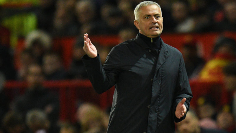 Manchester United's Portuguese manager Jose Mourinho gestures during the English Premier League football match between Manchester United and Newcastle at Old Trafford in Manchester, north west England, on October 6, 2018. (Photo by Oli SCARFF / AFP) / RESTRICTED TO EDITORIAL USE. No use with unauthorized audio, video, data, fixture lists, club/league logos or 'live' services. Online in-match use limited to 120 images. An additional 40 images may be used in extra time. No video emulation. Social media in-match use limited to 120 images. An additional 40 images may be used in extra time. No use in betting publications, games or single club/league/player publications. /