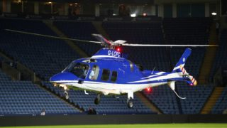 A helicopter carrying Leicester City owners Vichai Srivaddhanaprabha and Aiyawatt Raksriaksorn leaves the King Power Stadium at full time during the Premier League Football match between Leicester and Chelsea at the Filbert Way Stadium in Leicester on april 29, 2015 - Photo Kieran McManus / BPI / DPPI
