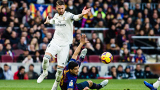 Sergio Ramos of Real Madrid and Luis Suarez of FC Barcelona during the Spanish championship La Liga football match between FC Barcelona and Real Madrid on October 28, 2018 at Camp Nou stadium in Barcelona, Spain - Photo Xavier Bonilla / Spain DPPI / DPPI