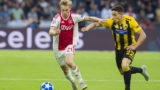 Ajax player Frenkie de Jong (l) and AEK Athens player Ezequiel Ponce (r) during the UEFA Champions League, Group E football match between Ajax Amsterdam and AEK Athens on September 19, 2018 at Johan Cruijff Arena in Amsterdam, Netherlands - Photo Erik Pasman / Pro Shots / DPPI
