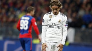 MOSCOW, RUSSIA - OCTOBER 02:  Luka Modric of Real Madrid reacts after during UEFA Champions League Group G soccer match between CSKA Moscow and Real Madrid at the Luzhniki Stadium in Moscow, Russia on October 02, 2018.  Sefa Karacan / Anadolu Agency