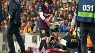 Leo Messi is injured during the match between FC Barcelona and Sevilla CF, corresponding to the week 9 of the Liga Santander, played at the Camp Nou, on 20th October 2018, in Barcelona, Spain.  Photo: Joan Valls/Urbanandsport /NurPhoto  -- (Photo by Urbanandsport/NurPhoto)