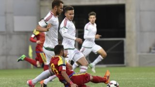Andorra's forward Ludovic Clemente vies with Hungary's midfielder Marton Eppel during the FIFA World Cup 2018 qualification football match between Andorra and Hungaria at the Municipal Stadium in Andorra la Vella, on June 9, 2017. (Photo by PASCAL PAVANI / AFP)