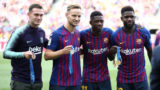 Ousmane Dembele, Samuel Umtiti, Thomas Vermaelen and Ivan Rakitic with the medals of the World Cup of Russia during the match between FC Barcelona and SD Huesca, corresponding to the week 3 of the Liga Santander, played at the Camp Nou, on 02th september 2018, in Barcelona, Spain.   -- (Photo by Urbanandsport/NurPhoto via Getty Images)