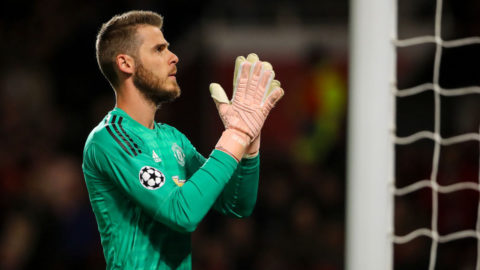 MANCHESTER, ENGLAND - OCTOBER 02:  David de Gea of Manchester United applauds the fans during the Group H match of the UEFA Champions League between Manchester United and Valencia at Old Trafford on October 2, 2018 in Manchester, United Kingdom. (Photo by Matthew Ashton - AMA/Getty Images)
