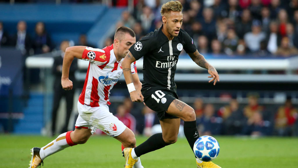 PARIS, FRANCE - OCTOBER 3: Neymar Jr of PSG during the Group C match of the UEFA Champions League between Paris Saint-Germain (PSG) and Red Star Belgrade (Etoile Rouge de Belgrade) at Parc des Princes stadium on October 3, 2018 in Paris, France. (Photo by Jean Catuffe/Getty Images)