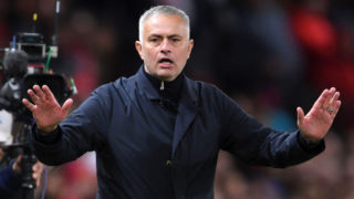 MANCHESTER, ENGLAND - OCTOBER 06:  Jose Mourinho, Manager of Manchester United reacts during the Premier League match between Manchester United and Newcastle United at Old Trafford on October 6, 2018 in Manchester, United Kingdom.  (Photo by Laurence Griffiths/Getty Images)