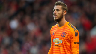 MANCHESTER, ENGLAND - OCTOBER 06: David de Gea of Manchester United during the Premier League match between Manchester United and Newcastle United at Old Trafford on October 6, 2018 in Manchester, United Kingdom. (Photo by Robbie Jay Barratt - AMA/Getty Images)